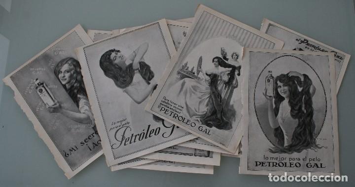 12 PRECIOSOS ANTIGUOS ANUNCIOS PUBLICITARIOS PETROLEO GAL CABELLO AÑO 1915 ORIGINALES NO SON COPIAS (Coleccionismo - Carteles Gran Formato - Carteles Publicitarios)