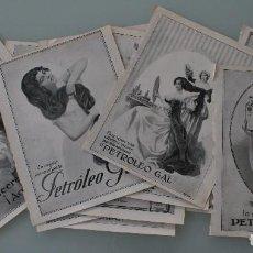 Carteles Publicitarios: 12 PRECIOSOS ANTIGUOS ANUNCIOS PUBLICITARIOS PETROLEO GAL CABELLO AÑO 1915 ORIGINALES NO SON COPIAS. Lote 104286827