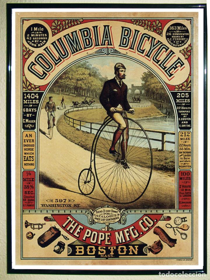 BONITO CARTEL DE - COLUMBI BICYCLE- VINTAGE ADVERTISING - POSTER. TAMAÑO: 72 X 55,5 CMS (Coleccionismo - Carteles Gran Formato - Carteles Publicitarios)