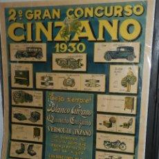 Carteles Publicitarios: (M) CARTEL 2 GRAN CONCURSO CINZANO 1930 ( CAPPIELLO ? ) , TALLERES GRAFICOS R LLAUGER , BARCELONA . Lote 106998155