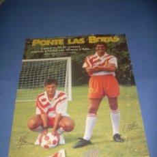 Carteles Publicitarios: CARTEL POSTER BUCANEROS BIMBO PASTELITOS. PONTE LAS BOTAS FUTBOL ALFONSO Y KIKO. 30X44 CM. LEER. Lote 107446563