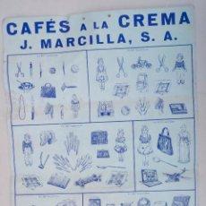 Carteles Publicitarios: CARTEL CAFÉS A LA CREMA, J. MARCILLA, S.A. 43X31CM. Lote 108054095