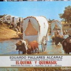 Carteles Publicitarios: CARTEL PUBLICITARIO ACEITES EL QUEMA Y QUEMASOL, VIRGEN DEL ROCIO, 51X35 CMS. Lote 108266531