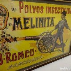 Carteles Publicitarios: INSECTICIDA MELINITA. ROMEU.BARCELONA. CARTEL ORIGINAL. 48 X 32 CTMS. SOLDADO-CAÑON-ARTILLERIA. Lote 108912479