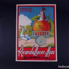Carteles Publicitarios: CARTEL NARANJAS RILLACER, ALGEMESÍ 1940. Lote 109251091