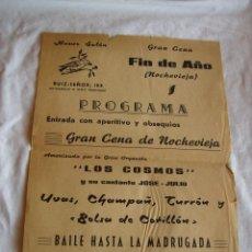 Carteles Publicitarios: **ANTIGUO CARTEL PUBLICITARIO (TAMAÑO FOLIO)---BAR RUIZ- SEÑOR( MELIANA) DE CENA DE FIN DE AÑO**. Lote 160949850