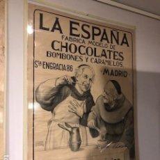 Carteles Publicitarios: ANTIGUO CARTEL ORIGINAL LA ESPAÑA CHOCOLATES MADRID. Lote 111437907