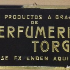 Carteles Publicitarios: ANTIGUO CARTEL DISPLAY DE PERFUMERIA TORGA, RONDA, MUY RARO, 36X19 CMS. Lote 112200007