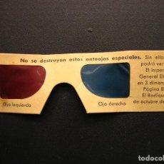 Carteles Publicitarios: ANTIGUOS ANTEOJOS ESPECIALES PARA 3 DIMENSIONES PARA VER EL IMPERIAL GENERAL ELECTRIC 1953. Lote 112301303