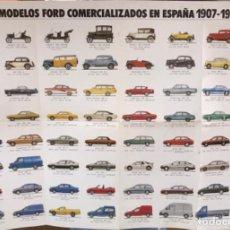Carteles Publicitarios: CARTEL DE AUTOMÓVILES FORD - MODELOS COMERCIALIZADOS EN ESPAÑA 1907 - 1991. Lote 112702055