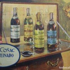 Carteles Publicitarios: COÑAC PEINADO. TOMELLOSO. BONITA PUBLICIDAD EN CARTÓN. 33 X 24 CTMS. AÑOS 1930-40S. Lote 113276283