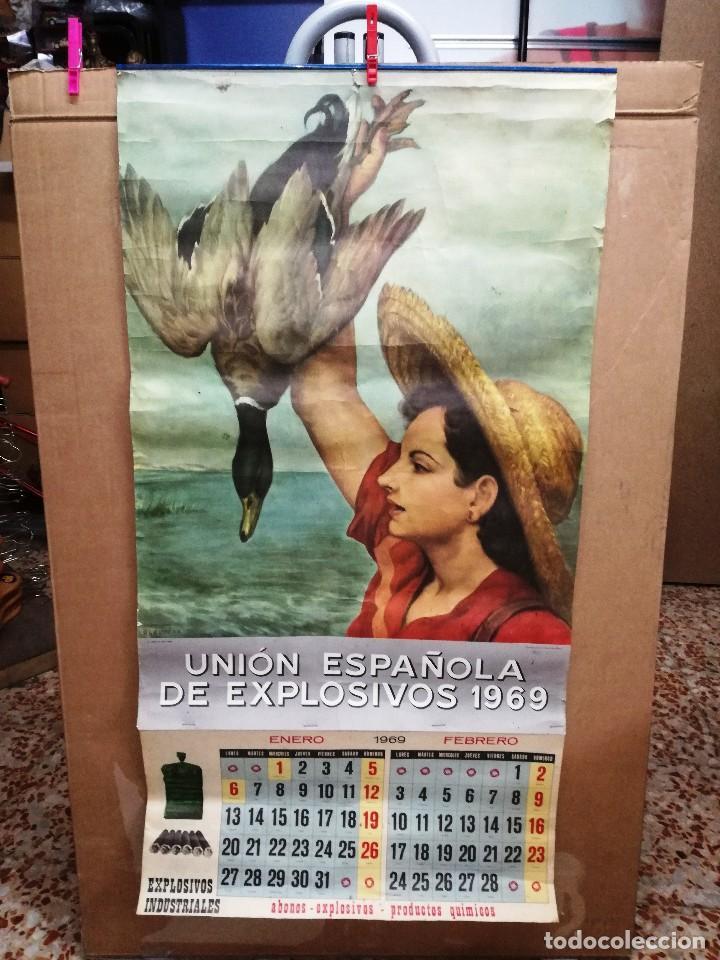 UNIÓN ESPAÑOLA DE EXPLOSIVOS .CARTEL ALMANAQUE ORIGINAL AÑO 1969-GRANDE 96X 51 CM (Coleccionismo - Carteles Gran Formato - Carteles Publicitarios)