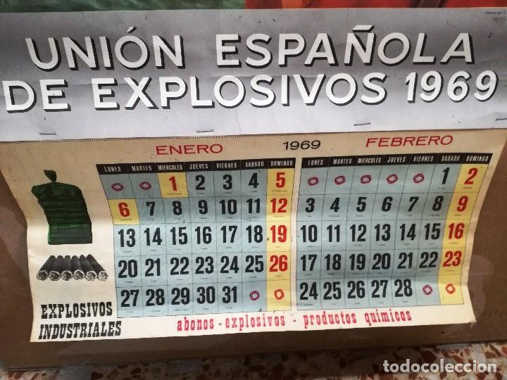 Carteles Publicitarios: UNIÓN ESPAÑOLA DE EXPLOSIVOS .CARTEL ALMANAQUE ORIGINAL AÑO 1969-GRANDE 96X 51 CM - Foto 4 - 114436619