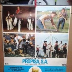 Carteles Publicitarios: GRAN CALENDARIO DE PROPISA SA FABRICA DE PIENSOS DE VITORIA ALAVA.AÑO 1974.48X67 CM. Lote 114463595