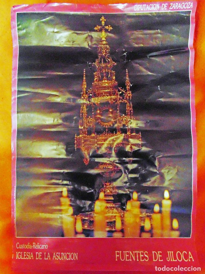 Carteles Publicitarios: POSTER DE DIPUTACION ZARAGOZA -CUSTODIA RELICARIO , IGLESIA LA ASUNCION- FUENTES DE JILOCA 1988.TAMA - Foto 3 - 116958127
