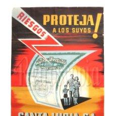 Carteles Publicitarios: CARTEL PUBLICIDAD DE COMPAÑIA SEGUROS SANTA LUCIA. AVDA. JOSE ANTONIO. MADRID. OLCINA AÑOS 50. Lote 117776771