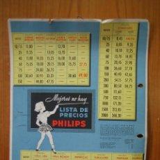 Carteles Publicitarios: CARTELITO PUBLICITARIO EN CARTÓN. LISTA DE PRECIOS PHILIPS. M 29,5X22,5 CM. Lote 118305455