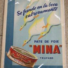 Carteles Publicitarios: CARTEL LITOGRAFIA PATE DE FOIE MINA TRUFADO. CIRCA 1948. AGENCIA OESTE. Lote 120607166