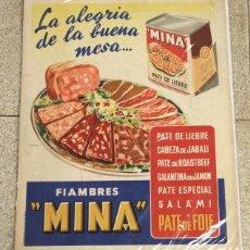 Carteles Publicitarios: CARTEL LITOGRAFIA FIAMBRES MINA. PATE DE LIEBRE MINA. CIRCA 1948. AGENCIA OESTE. Lote 120607370