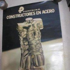 Carteles Publicitarios: PERFRISA, CONSTRUCTORES EN ACERO. ESCULTURA MINI DAVID DE BERROCAL, 1980, 98,5X68,5 CM.. Lote 121699035