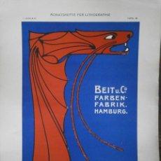 Carteles Publicitarios: BEITU. FARBEN FABRIK HAMBURG. Lote 122720643