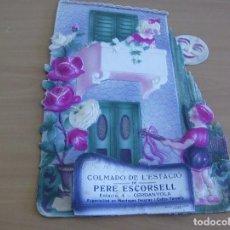 Carteles Publicitarios: COLMADO DE L'ESTACIO PERE ESCORSELL - ESTACIO 4 CERDANYOLA - AÑO 1900* - DISPLAY CARTEL 43 X 27 CMS.. Lote 124432431