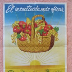 Carteles Publicitarios: INSECTICIDAS ITRAM-AT.D.D.T. DOMESTICOS Y AGRICOLAS,CARTEL DE 49X69 CM(LITOGRAFÍA ORTEGA VALENCIA). Lote 125434239