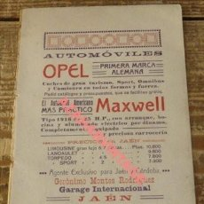 Carteles Publicitarios: CARTON PUBLICITARIO AUTOMOVILES OPEL, JAEN, 1916, 178X108MM, REVERSO BODEGAS MANUEL GUERRERO. Lote 126440927