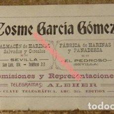 Carteles Publicitarios: CARTON PUBLICITARIO FABRICA HARINAS COSME GARCIA GOMEZ, SEVILLA Y EL PEDROSO, 1916, 178X108MM. Lote 126441039