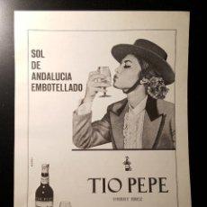 Affissi Pubblicitari: HOJA PUBLICIDAD. SHERRY JEREZ. TIO PEPE. GONZALEZ BYASS. READER´S DIGEST 1966. Lote 126977491