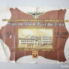Carteles Publicitarios: CARTEL PUBLICITARIO FÁBRICA DE CURTIDOS, ARTÍCULOS DE PIEL, SILVIO RUIZ DE ALDA, ESTELLA, NAVARRA. Lote 127590927