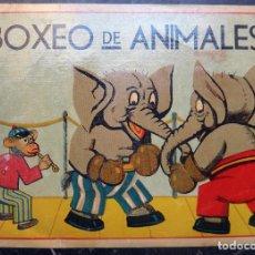 Carteles Publicitarios: CARTEL PUBLICIDAD BOXEO DE ANIMALES , ELEFANTES , MUY ANTIGUO , ORIGINAL K8. Lote 127846719