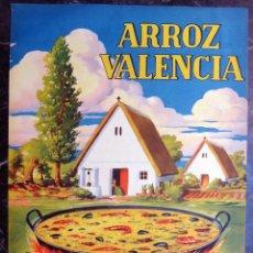 Affiches Publicitaires: CARTEL PUBLICIDAD ARROZ VALENCIA , EL PAELLERO , PAELLA , BARRACAS , PAPEL , ORIGINAL. Lote 172169507