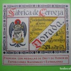 Carteles Publicitarios: ANTIGUA ETIQUETA DE CERVEZA AGUILA. Lote 128021307