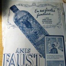 Carteles Publicitarios: CARTEL EN CARTON PUBLICIDAD ANIS FAUST . LICORES ALTAMS DESTILERIAS ALTIMIRAS 31 / 21 CM. Lote 165255489