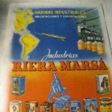 Carteles Publicitarios: PEQUEÑO CARTEL 23 / 17 CM PUBLICIDAD INDUSTRIAS RIERA MARSA DOBLE CARA . PAPEL ALIMENTACION NIÑOS. Lote 128474695