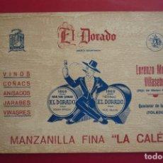 Carteles Publicitarios: QUINTANAR DE LA ORDEN (TOLEDO). MARCA 'EL DORADO'. VINOS, COÑACS, ANISADOS, JARABES Y VINAGRES.. Lote 130068287