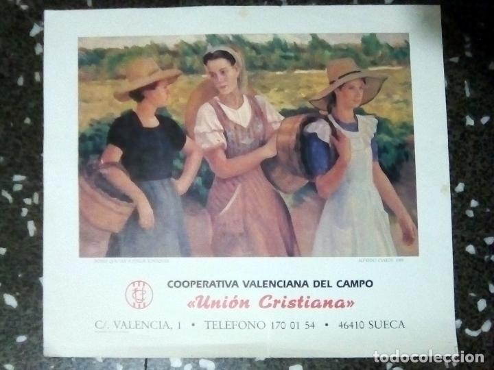 Carteles Publicitarios: CARTEL LITOGRAFIA DE OBRA - DONES QUE VAN A COLLIR TOMATIQUES- ALFREDO CLAROS- 1955. TAMAÑO 54X46 CM - Foto 3 - 131531234