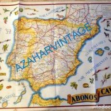 Carteles Publicitarios: PRECIOSO CARTEL PUBLICITARIO DE MAPA DE ESPAÑA.AÑOS 40, ABONOS CAVA, 85X65 CMS. Lote 132972754