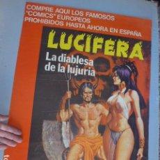 Carteles Publicitarios: * ANTIGUO RARO CARTEL DE PUBLICIDAD DE COMIC TEBEO LUCIFERA, EDITORIAL ELVIBERIA, ORIGINAL. ZX. Lote 134078902