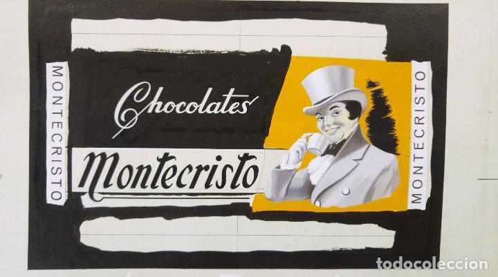 CHOCOLATES MONTECRISTO - PRUEBA DE IMPRENTA ORIGINAL PINTADO A MANO A TRAMOS - TORREAGUERA, MURCIA (Coleccionismo - Carteles Gran Formato - Carteles Publicitarios)