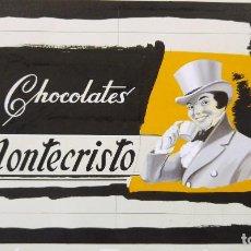 Carteles Publicitarios: CHOCOLATES MONTECRISTO - PRUEBA DE IMPRENTA ORIGINAL PINTADO A MANO A TRAMOS - TORREAGUERA, MURCIA. Lote 135424702
