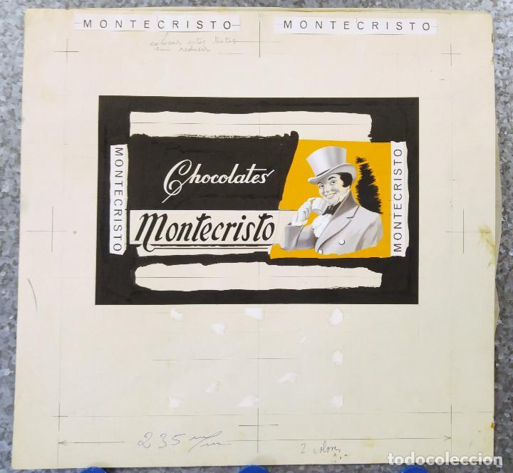 Carteles Publicitarios: CHOCOLATES MONTECRISTO - PRUEBA DE IMPRENTA ORIGINAL PINTADO A MANO A TRAMOS - TORREAGUERA, MURCIA - Foto 2 - 135424702