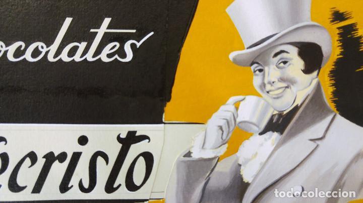 Carteles Publicitarios: CHOCOLATES MONTECRISTO - PRUEBA DE IMPRENTA ORIGINAL PINTADO A MANO A TRAMOS - TORREAGUERA, MURCIA - Foto 3 - 135424702