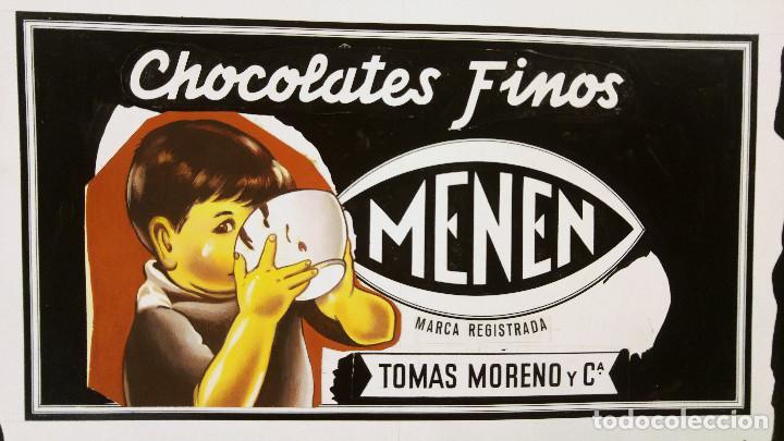 CHOCOLATES FINOS MENEN- PRUEBA DE IMPRENTA ORIGINAL PINTADO A MANO - TOMAS MORENO Y CIA. OVIEDO (Coleccionismo - Carteles Gran Formato - Carteles Publicitarios)