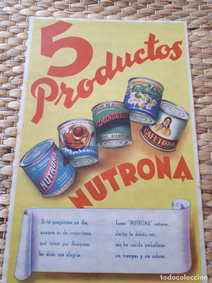 CARTEL PUBLICIDAD NUTRONA 5 PRODUCTOS. DISEÑO Z. SOLT. PAPEL SEDA. ORIGINAL (Coleccionismo - Carteles Gran Formato - Carteles Publicitarios)
