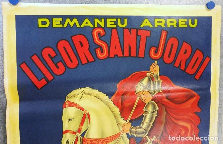 Carteles Publicitarios: LICOR SANT JORDI. DEMANEU ARREU. ENRIC LLADÓ ARENYS DE MUNT. PRECIOSO CARTEL LITOGRAFICO c.1930 - Foto 2 - 180350727