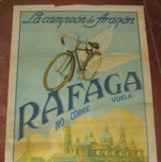 Carteles Publicitarios: CARTEL PUBLICITARIO. BICICLETAS RAFAGA. LA CAMPEON DE ARAGON. 78 X 105 CM. DIBUJO F. DE PRADO. VER. Lote 172747072