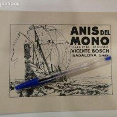 Carteles Publicitarios: ANIS DEL MONO. VICENTE BOSCH. BADALONA. ESPAÑA.. Lote 138529802