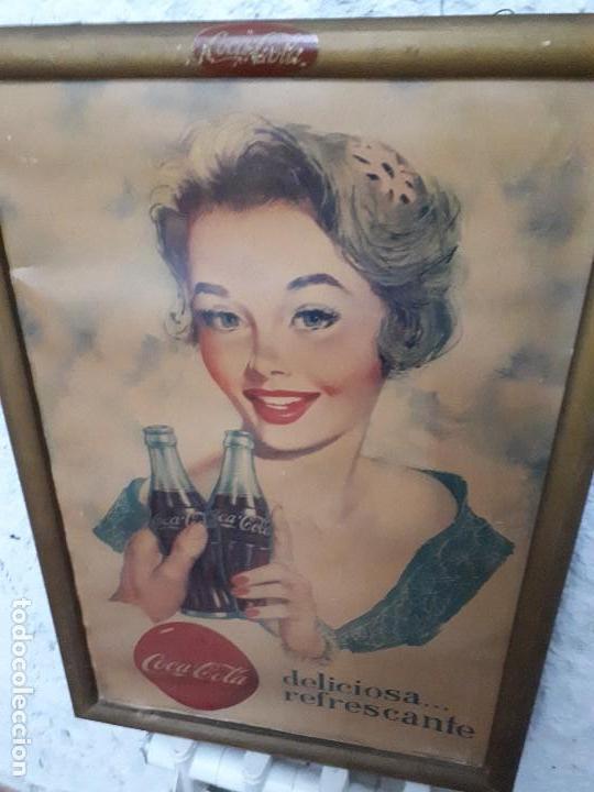 Carteles Publicitarios: Cartel Coca-Cola Español Años 50s. Six Barral. Cartón. Auténtico. Marco original. Super difícil - Foto 3 - 138771394